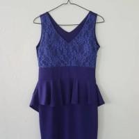 Jual Bodycon dress renda biru tua preloved Murah
