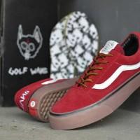 Sepatu Skate Vans Golf Wang Red Maroon Grade Ori Premium Waffle ICC