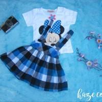 Jual Setelan overall minnie baju anak bayi 1 - 2 tahun dress flanel pesta Murah