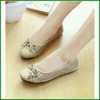 Jual Sepatu Flat Flatshoes Murah Laser Sintetis NFZ-22 Cream Murah