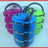 Jual Rantang 3 susun lunch box kotak makan eco stainless 3 warna - HPD039 Murah