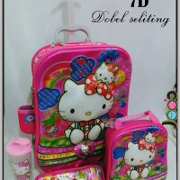 Jual Tas Trolley Troli Trolly 6 Roda 4in1 2 Ruang / Seliting 7D Hello Kitty Murah