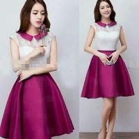 Jual M4473 Dress M  Fit L MESYA Purple  Brokat Komb KODE QE4473 Murah