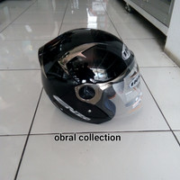 helm ink enzo solid black edisi crome doble visor