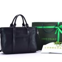 Tas Longchamp 3D Medium Leather Tote Hitam P1285