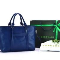 Tas Longchamp 3D Medium Leather Tote Biru Dongker P1285