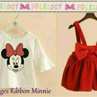 Jual overall dress anak merah + inner minnie Murah