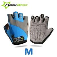 Jual Sarung tangan glove sepeda half finger biru gowes motoran mancing dll Murah