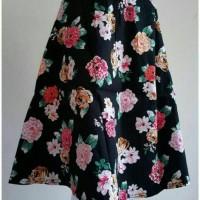 Jual Midi flare skirt / rok pendek motif bunga Murah