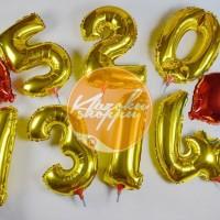 Jual Balon Foil Angka 0-9 / Number 0-9 Golden Foil Balloon Murah