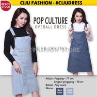 Jual BNG Pop Culture Overall Dress Terusan Wanita Jeans Baju Gantung CDR126 Murah