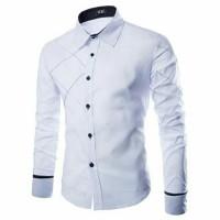 Kemeja Pria Tangan Panjang Polos  |xman Putih| Pakaian Kantor Kerja