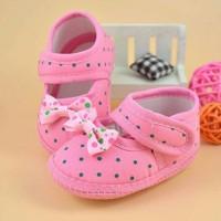 Jual Sepatu Prewalker Baby Shoes Newborn Anak Bayi Perempuan Polkadot Murah