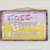 Jual Vintage Text Poster Plat Kayu Beer -Hiasan Dinding Poster Vintage Retr Murah