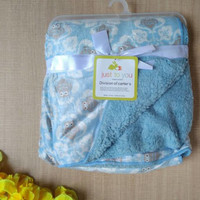Jual Selimut Bayi Just To You Double Fleece Owl SkyBlue Murah