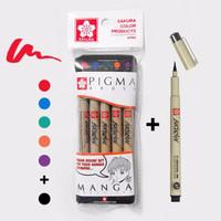 Jual Sakura Pigma Brush 5 Set + Black Murah