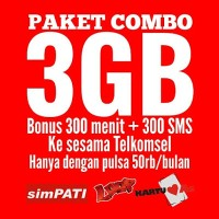 Paket Nelpon 300 menit Telkomsel Paket Internet 3GB Paket SMS 300
