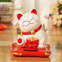 Jual Pajangan Kucing Hokky White Mini Lucky Cat Solar Toys Murah