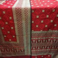 Jual songket tenun sutra asli Palembang Bungo Cino merah pengantin Murah