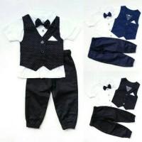 Jual baju setelan pesta bayi anak laki rompi bintik celana jogger dasi kupu Murah