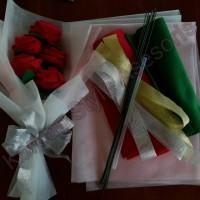 Paket membuat buket bunga flanel (jadi 2 buket seperti di foto)