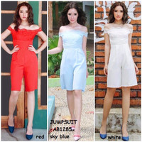 Jual Baju Jumpsuit Celana Sabrina Off Cold Shoulder Lace Korea Import Putih Murah