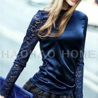 Jual Blouse Atasan Wanita Blue Fashion Silk (M) 155844 Original Sale SALE Murah