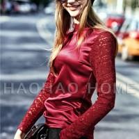 Jual Blouse Atasan Wanita Red Fashion Silk (L) 155844 Original Sale SALE Murah