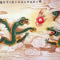 Jual Repro digital Lukisan naga hijau Chinese dragon hoki feng shui Murah