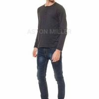 Jual Kaos Polos Henley Pria Panjang Dark Grey Limited Murah