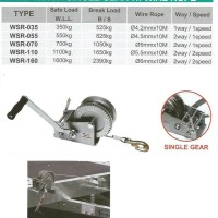 Hand Winch Single Gear With Wire Rope SL. 550 Kg - Wipro WSR055
