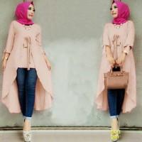 Jual Baju Muslim Baru Cantik [Tunik Olga Mocca SW] tunik wanita wolly crepe Murah