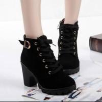 Jual TERBARU!!! [Promo] Sepatu Wanita Boots Heels Gesper Black Murah