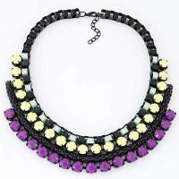 Jual Kalung Korea Perhiasan Aksesoris Pesta Import Gemstone  Metal Weave Murah