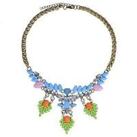 Jual Kalung Korea Perhiasan Aksesoris Pesta Import Gemstone  Leaf Daun Murah