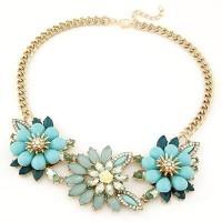 Jual Kalung Korea Perhiasan Aksesoris Pesta Import Gemstone  Flower Bunga Murah