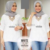 Jual DCR Tunik/Baju Wanita/Baju Atasan/Sabrina/White Top Murah