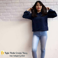 Jual Paling Laris Kylie Crop Hoodie Navy Murah