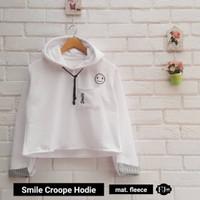 Jual PROMO Smile Crop Hoodie White Murah
