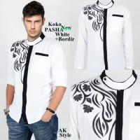 Jual New Kemeja Kaos Koko [Pasha white AK] koko pria rayon bangkok putih Murah