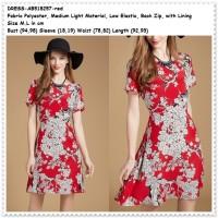 Jual Party Mini Dress Gaun Pesta Baju Wanita Korea Import Bunga Red Merah Murah