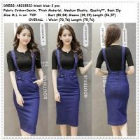 Jual Setelan Overall Mini Dress Jeans Denim Suspender Baju Rok Korea Import Murah