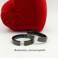 Cincin Kawin Nikah Black Ring Couple Titanium Sepasang Mewah Murah