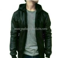Jual jaket kulit sintetis korea hoodie sintetis full black Murah