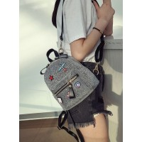 Ransel Tas Fashion Kecil Wanita Silver Back Pack Kuliah Sport Elegan