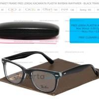 (Paket Frame Free Lens) SALE Kacamata Plastik Ray Ban Wayfarer - Black