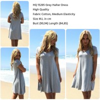 Jual HQ 15295 Grey Halter Dress Murah