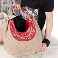 Jual 02-8 New Collection Gucci Studded Fringe Hobo Bag Canvas vs Smooth lea Murah
