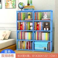 Rak Buku 2 sisi Portable Rak Buku serbaguna 2 sisi portable Biru