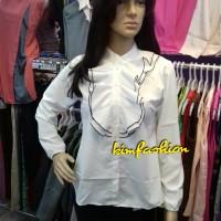 Jual OP5266 atasan wanita kemeja putih polos kemeja ruffle kemeja l KODE Bi Murah